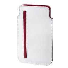 Hama basic, leather, white-red, 12,5 x 7,7 cm