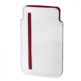 Hama basic, leather, white-red, 12,5 x 7,7 cm